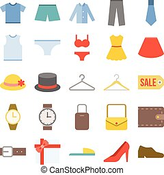Vector clothing icons set