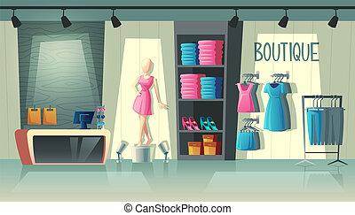 Vector clothing shop interior, fashion boutique inside
