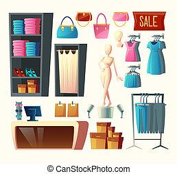 Vector clothing shop set, fashion boutique collection