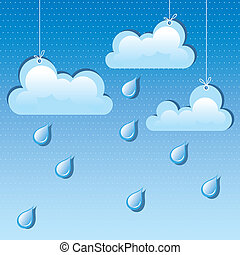 vector cloud and rain drops