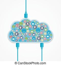 Vector cloud computing concept.