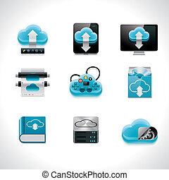 Detailed set of cloud computing and networking related icons