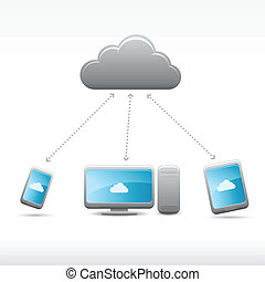 Vector cloud computing icons