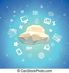 Vector Cloud Lowpoly Illustration with different icons