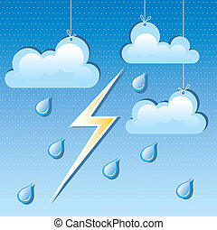 vector cloud, rain drops and lightning