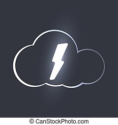 Vector cloud services logo with glow lightning