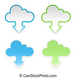 Vector cloud stickers with arrows, set of four