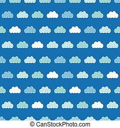Vector Clouds Blue Sky Seamless Pattern