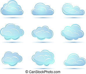 Vector clouds collection. Weather icons