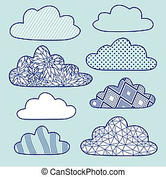 vector clouds set isolated on blue