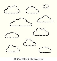 Vector clouds shapes set isolated on white background