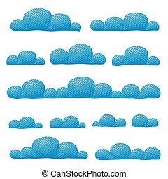Vector cloudy overcast sky panorama collection