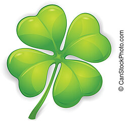 Vector clover - Four leaf clover isolated on white, vector...