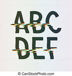 Vector CMYK Print Distortion Font from A to F