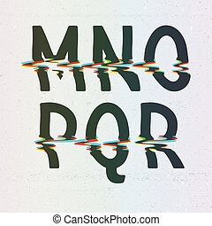 Vector CMYK Print Distortion Font from M to R
