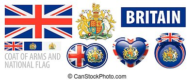 Vector coat of Arms and national flag of Britain
