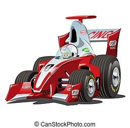 vector, coche, aislado, 1, carrera, fórmula, blanco, caricatura