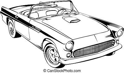 vector, -, coche deportivo, bosquejo