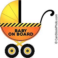 vector, cochecito del bebé, en, construcción, estilo