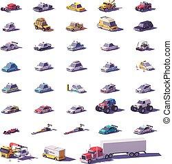 vector, coches, y, camiones, icono, conjunto