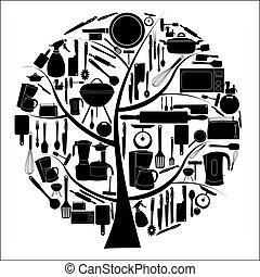 vector, cocina, herramientas, ilustración, cocina