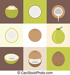 Vector coconut icons set