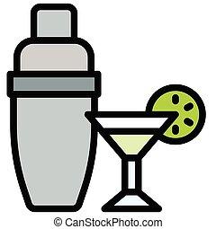 vector, coctelera, llenado, ilustración, cóctel, bebida, icono