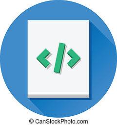 vector, code, blad, pictogram