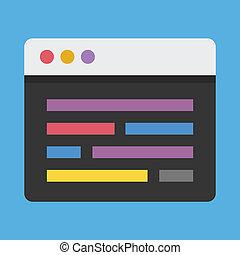 vector, code, redacteur, pictogram