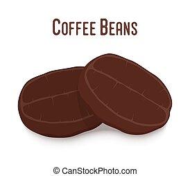 Vector coffee bean, robusta. Roasted seed in cartoon flat...
