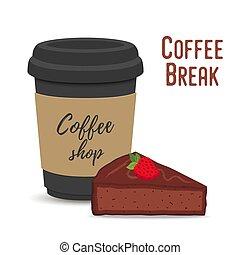 Vector coffee break concept. Mug and brownie - Vector coffee...
