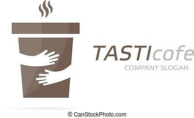 Vector coffee cup and hands logo  cafe symbol  unique