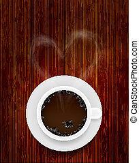 Vector coffee cup on wooden background with smoke in the form of heart. Eps10