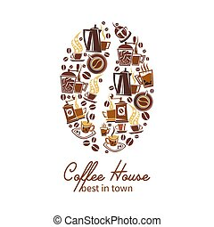 Vector coffee cups, beans and makers poster - Coffeehouse or...