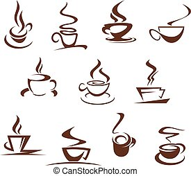 Vector coffee cups for cafeteria cafe icons set - Coffee...