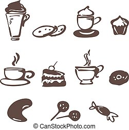 Vector coffee icons in doodle style.