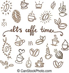 Vector coffee icons set. Coffee shop illustration design elements vintage vector