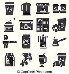 Vector Coffee Icons Set on White Background