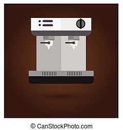 vector Coffee maker on brown background