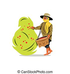 Vector Coffee Picker Cartoon Illustration. - Woman with a...