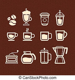Vector Coffee, Tea and Drinks icons set