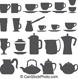 vector coffee tea Cups And Pots silhouette set
