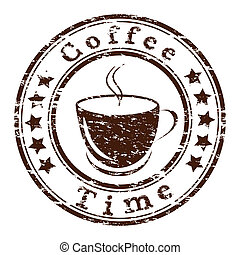 Vector coffee time grunge stamp with a cup
