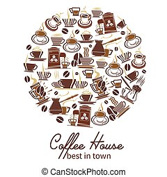 Vector coffeehouse cafe and coffee poster - Coffeehouse...