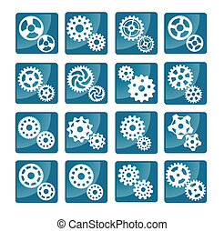 Vector cog icons (blue)