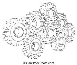 Vector Cog wheel gear mechanism close-up. White background.