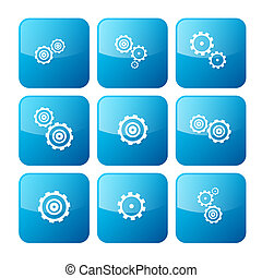 Vector Cogs - Gears Blue Icons Set Isolated on White Background