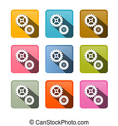 Vector Cogs - Gears Colorful Icons