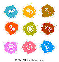 Vector Cogs - Gears Colorful Splashes Icons Set Isolated on White Background