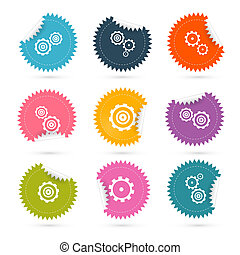 Vector Cogs - Gears Colorful Stickers Icons Set Isolated on White Background